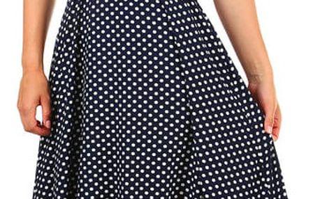 Dámské retro puntíkované šaty s páskem tmavě modrá