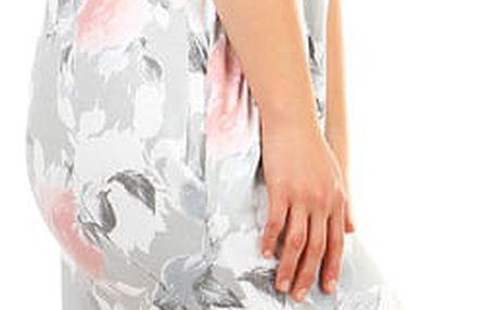 Dámské letní volné šaty s květinovým potiskem šedá
