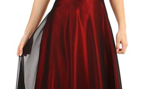 Dlouhé vínové šaty za krk vínová
