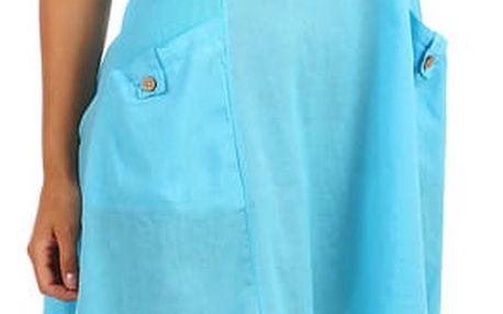Bavlněné letní šaty s krajkou a výraznými kapsami světle modrá