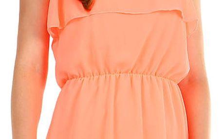 Dámské šifonové šaty s volánem neon oranžová