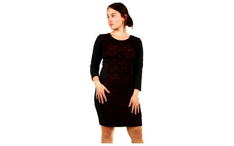 Dámské šaty s krajkou - pro plnoštíhlé černá