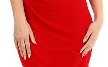 Třpytivé šaty se zavinovacím efektem červená