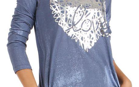 Bavlněné šaty s dlouhým rukávem a potiskem tmavě modrá