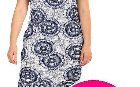 Vzorované šaty s krátkým rukávem - i pro plnoštíhlé tmavě růžová