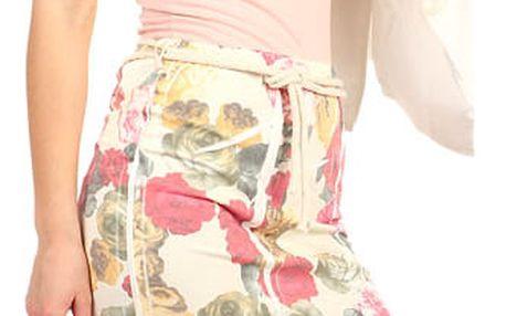 Dámská sportovní pouzdrová sukně s květinovým vzorem světle růžová