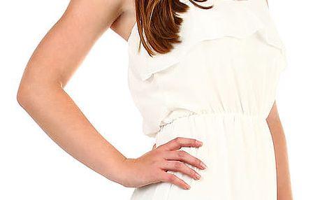 Dámské šifonové šaty s volánem bílá