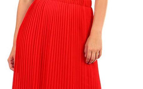 Dámská skládaná plisovaná sukně červená