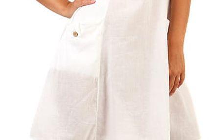 Bavlněné letní šaty s krajkou a výraznými kapsami bílá