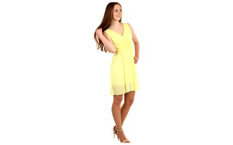 Šifonové šaty s krajkovým vrškem žlutá