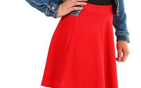 Jednobarevná dámská krátká sukně červená