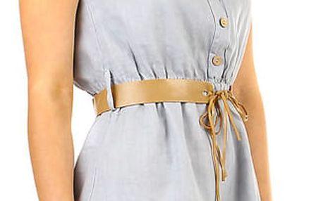 Dámské lněné šaty s límečkem šedá