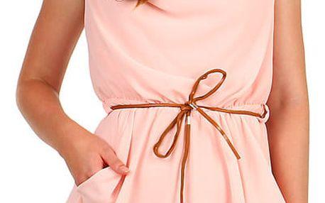 Dámské šifonové mini šaty s páskem světle růžová