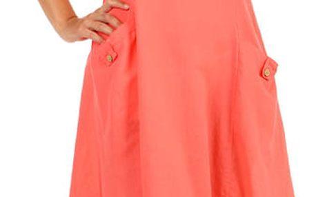 Bavlněné letní šaty s krajkou a výraznými kapsami lososová