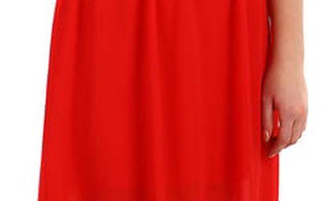 Šifonové šaty s krajkovým vrškem červená
