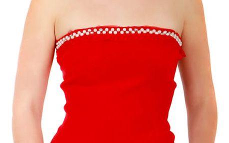 Dámský top s perličkami červená