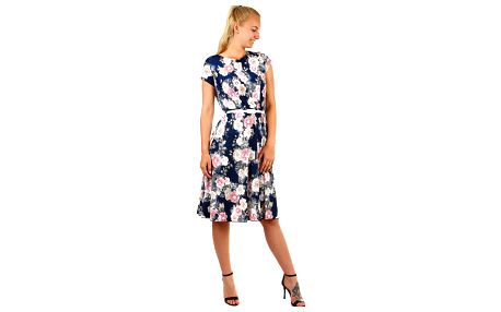 Dámské kytičkované retro šaty- pro plnoštíhlé tmavě modrá