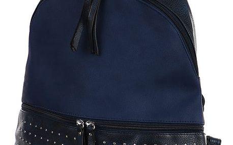 Dámský koženkový batoh s cvočky modrá
