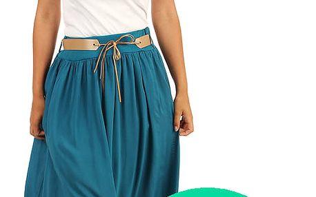 Dámská romantická maxi sukně s kapsami zelená