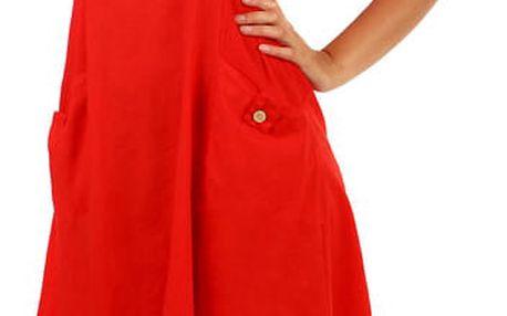 Bavlněné letní šaty s krajkou a výraznými kapsami červená