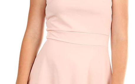 Dámské společenské šaty s perličkami růžová