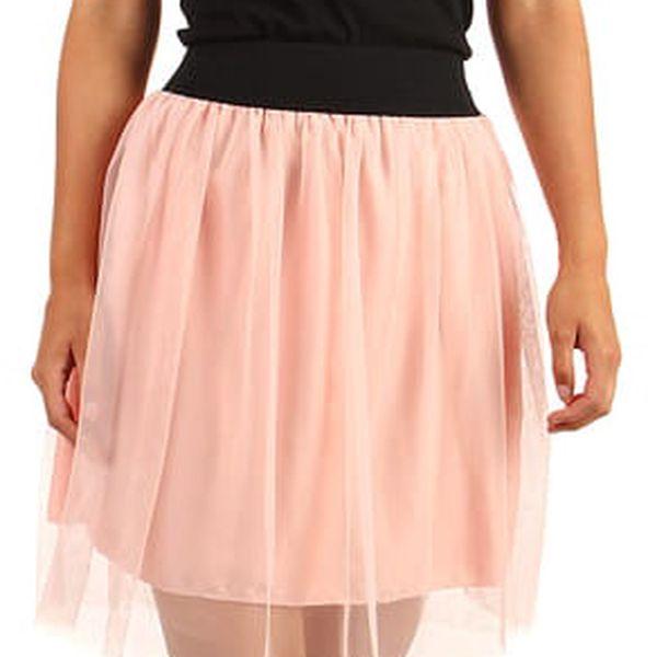 Krátká dámská tylová sukně růžová2