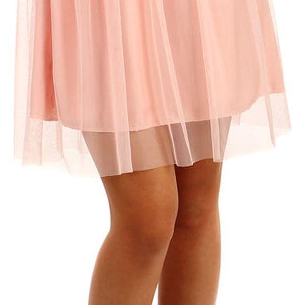 Krátká dámská tylová sukně růžová4