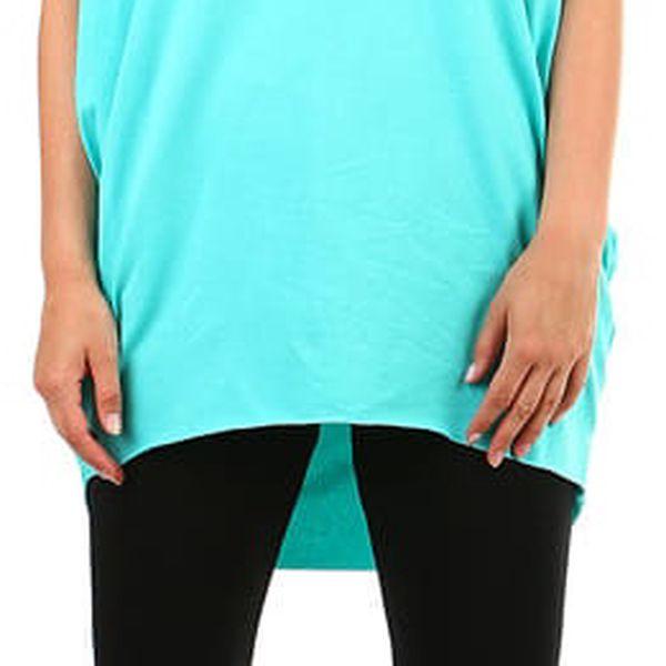 Dámské dlouhé tričko s krátkým rukávem tyrkysová2