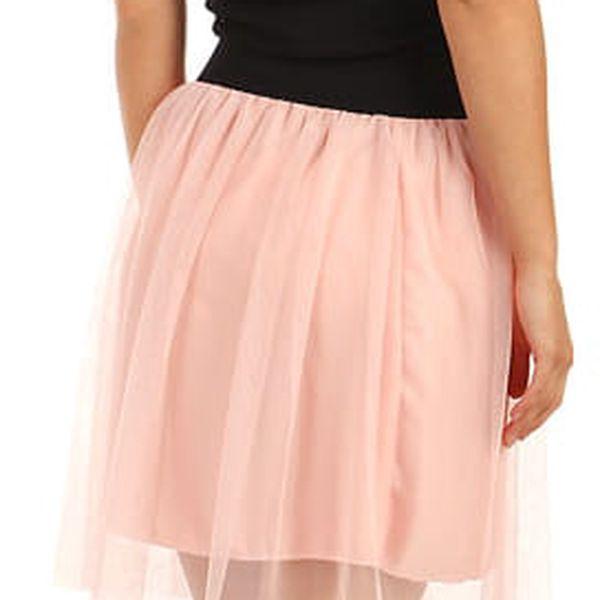 Krátká dámská tylová sukně růžová5
