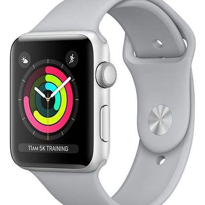 Chytré hodinky Apple Watch Series 3 GPS 42mm pouzdro ze stříbrného hliníku - mlhově šedý sportovní řemínek (MQL02CN/A) + DOPRAVA ZDARMA