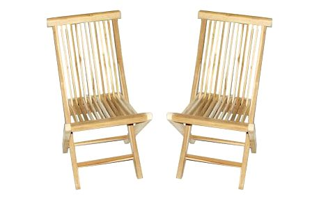 Divero 2151 Skládací židle z týkového dřeva, 2 kusy