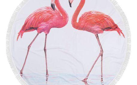 Barevná plážová osuška z bavlny Flamingos, ⌀ 150 cm