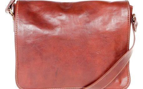 Hnědá kožená taška přes rameno Italia in Progress Paride