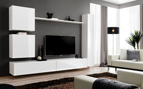 Obývací stěna SWITCH VIII, bílá matná/bílý lesk