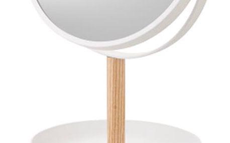 Bílé zrcadlo s úložnými miskami a detailem z bukového dřeva YAMAZAKI Tosca