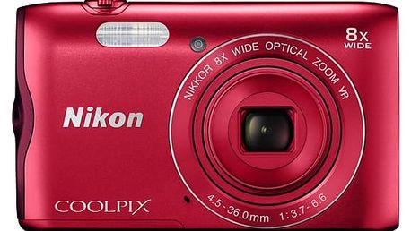 Digitální fotoaparát Nikon Coolpix A300 červený Powerbank Niceboy 10000mAh černá v hodnotě 599 Kč + DOPRAVA ZDARMA