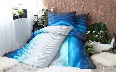 XPOSE ® Bavlněné povlečení na dvě lůžka ERIKA - modrá 140x200, 70x90