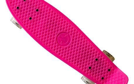 """Plastik Board MASTER 22"""" se svítícími kolečky - růžový"""