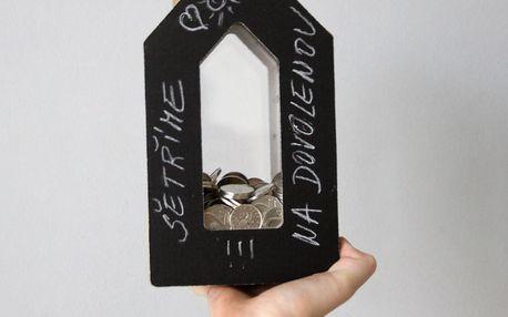 Černobílá kasička Unlimited Design for kids Domeček