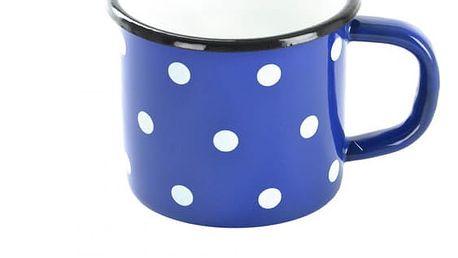 Hrnek smalt - plecháček modrý puntík 10 cm