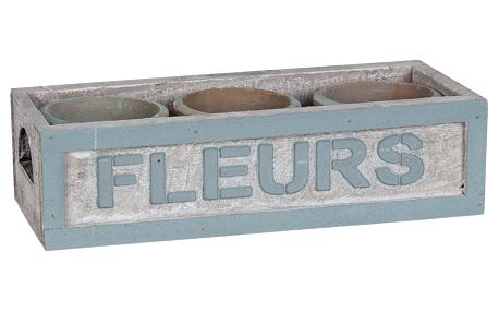 Set 3 květináčů a bedýnky Clayre & Eef Pots, 24x10 cm