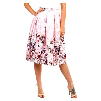 Dámská skládaná retro sukně světle růžová