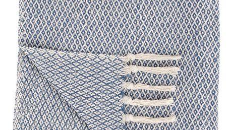Modro-bílý vzorovaný bavlněný pléd House Nordic Cort, 170x130cm