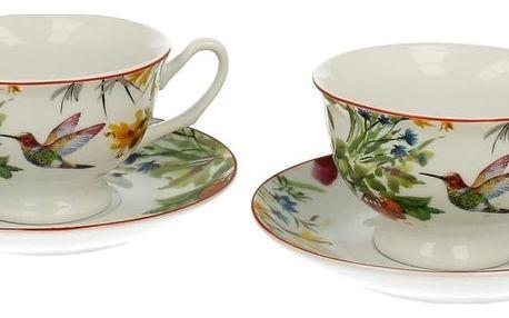 Sada 2 porcelánových šálků s podšálkem Duo Gift Linnea, 180 ml