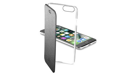 Pouzdro na mobil flipové CellularLine Clear Book pro Apple iPhone 8/7 černé (CLEARBOOKIPH747K)
