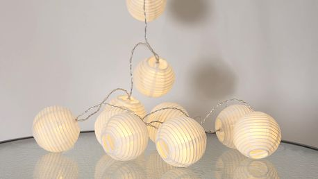 STAR TRADING Světelný lampionový řetěz White, bílá barva, plast, papír