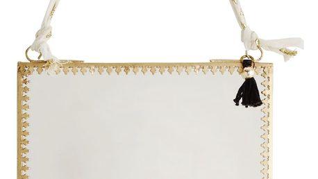 MADAM STOLTZ Závěsné zrcátko v kovovém rámu Orient Gold, zlatá barva, sklo, kov