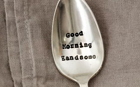 La de da! Living Postříbřená čajová lžička Good Morning Handsome, stříbrná barva, kov