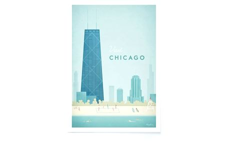 Plakát Travelposter Chicago, A3