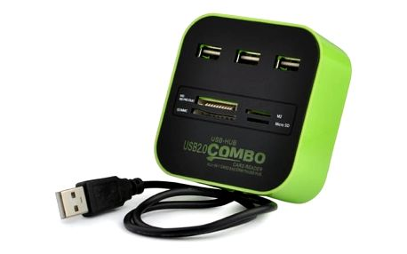 Vysokorychlostní USB hub a čtečka paměťových karet - 4 barvy